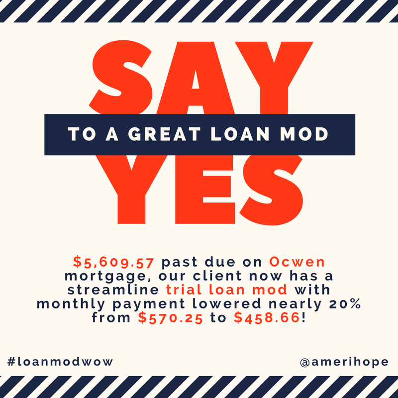 $5,609.57 past due on Ocwen mortgage, our client now has a streamline trial loan modification with monthly payment lowered nearly 20% from $570.25 to $458.66!