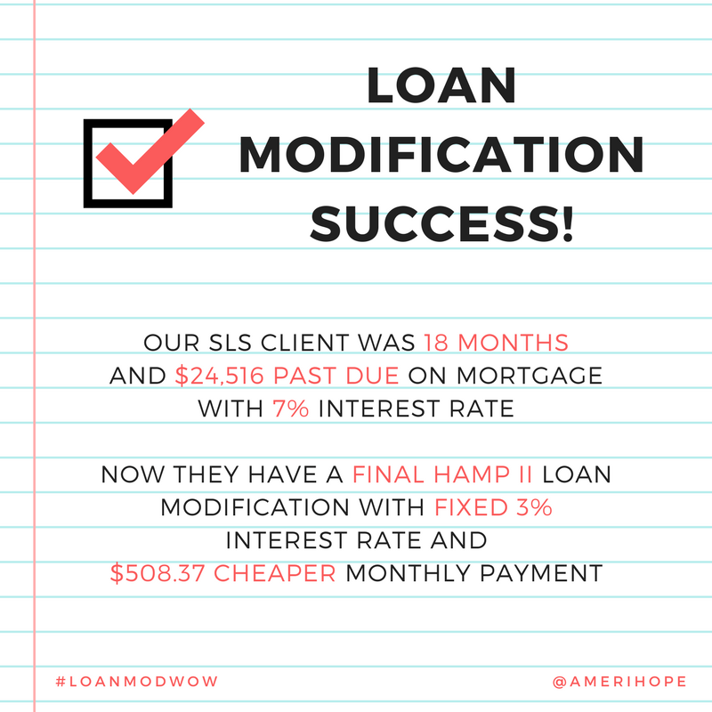 18 months and $24,516 past due on mortgage with SLS, our client has a HAMP II loan modification with $508 cheaper monthly payment and an interest rate that dropped from 7% to 3%!