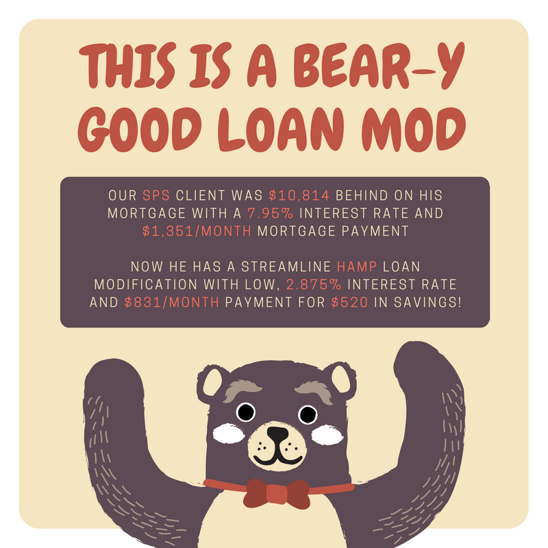 Our SPS client has a streamline HAMP loan modification (their second HAMP mod) with $520 cheaper monthly payment and 5.075% lower interest rate!