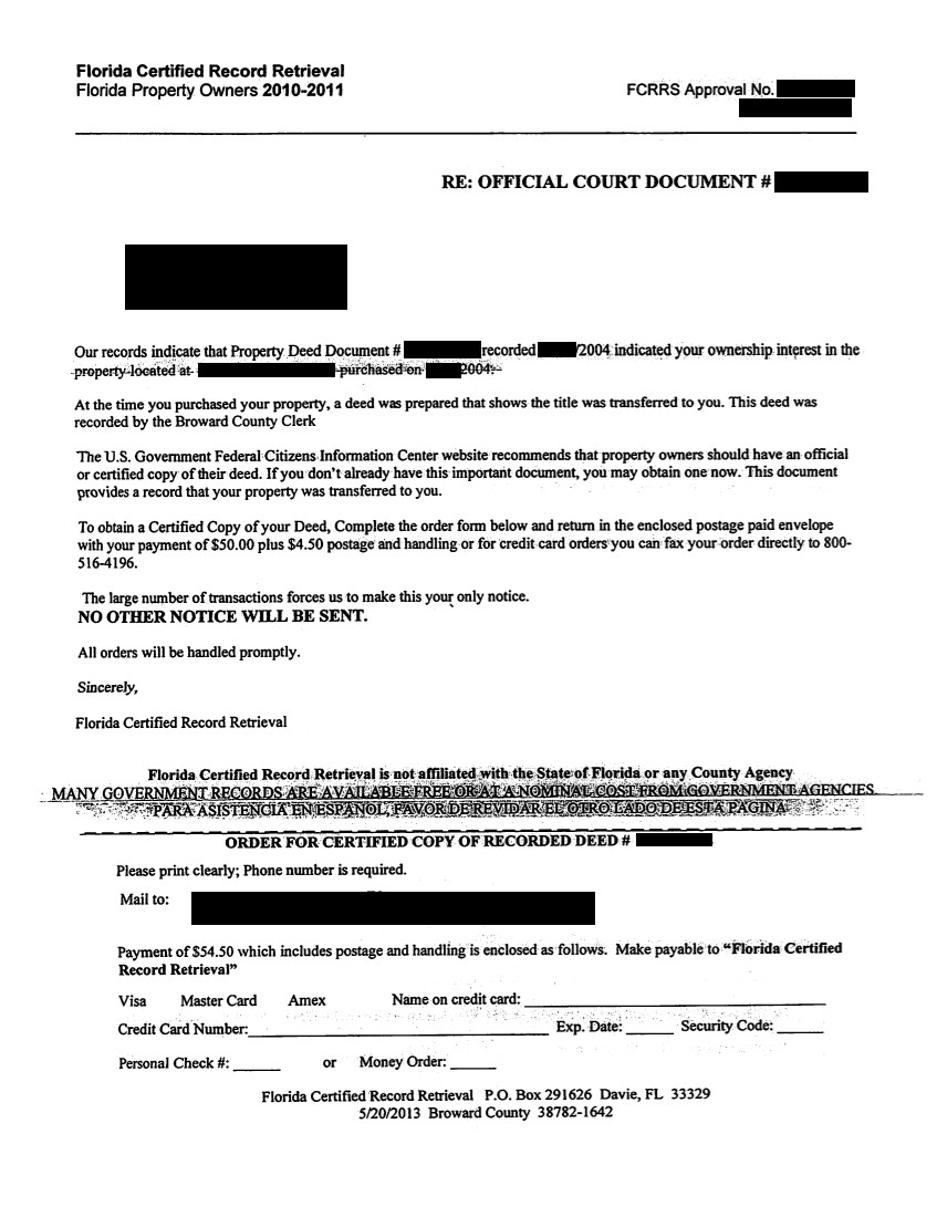 Florida Certified Record Retrieval Letter
