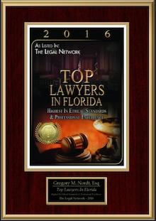 2016 Top Lawyer Award Certificate