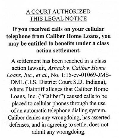 Some Caliber Home Loan clients are eligible to receive funds as part of a class action lawsuit that was settled for $2,895,000.