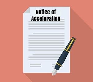 For mortgages that have an acceleration clause (most do), that means that, after breaching your contract by missing payments, your lender can demand that you either pay off the entire balance of your mortgage or be foreclosed upon. The Notice of Acceleration tells the homeowner about their right to avoid that by reinstating their loan.