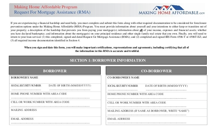What is a Request for Mortgage Assistance (RMA)?