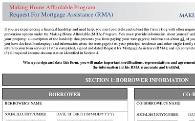 If you want a loan modification, you're going to have to ask for it. Your bank may tell you that a loan modification is a possibility, but it's up to you to formally ask by submitting a Request for Mortgage Assistance (RMA).