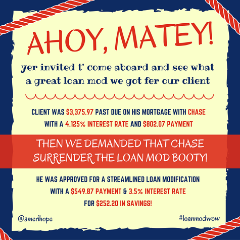 Every week we obtain successful loan modifications, such as this one with Chase that got our client a streamlined loan modification with a $252 cheaper mortgage payment.