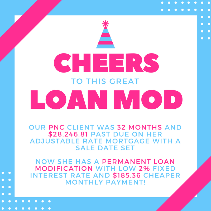 Our PNC Bank client was 32 months and $28,246.81 past due on adjustable rate mortgage with a sale date set, now she has a permanent loan modification with low 2% fixed interest rate and $185.36 cheaper monthly payment!