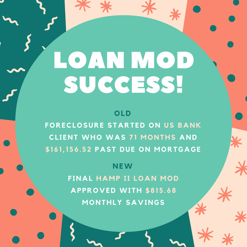 71 months and $161,156.52 past due on mortgage with US Bank and in foreclosure, our client now has a HAMP II final loan modification with $815.68 cheaper monthly payment!