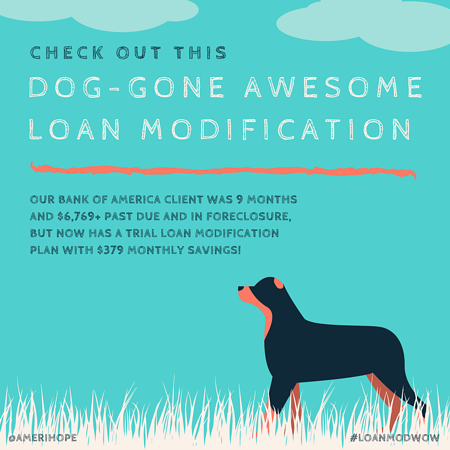 Our Bank of America client was 9 months and $6,769+ past due and in foreclosure, but now has a trial loan modification plan with $379 monthly savings!