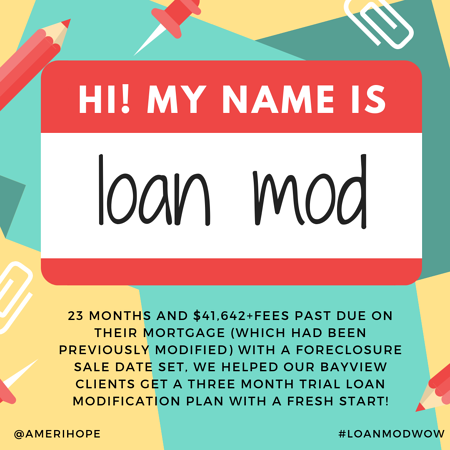 23 months and $41,642+fees past due on their mortgage (which had been previously modified) with a foreclosure sale date set, we helped our Bayview clients get a three month trial loan modification plan with a fresh start!