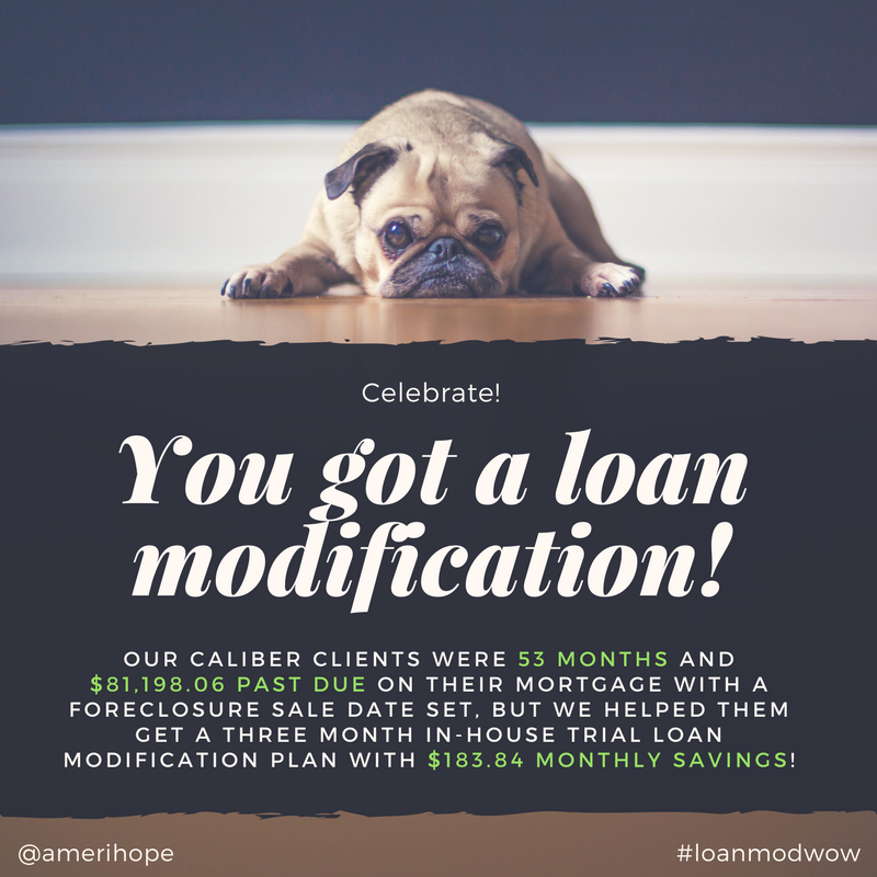 Our Caliber clients were 53 months and $81,198.06 past due on their mortgage with a foreclosure sale date set, but we helped them get a three month in-house trial loan modification plan with $183.84 monthly savings!