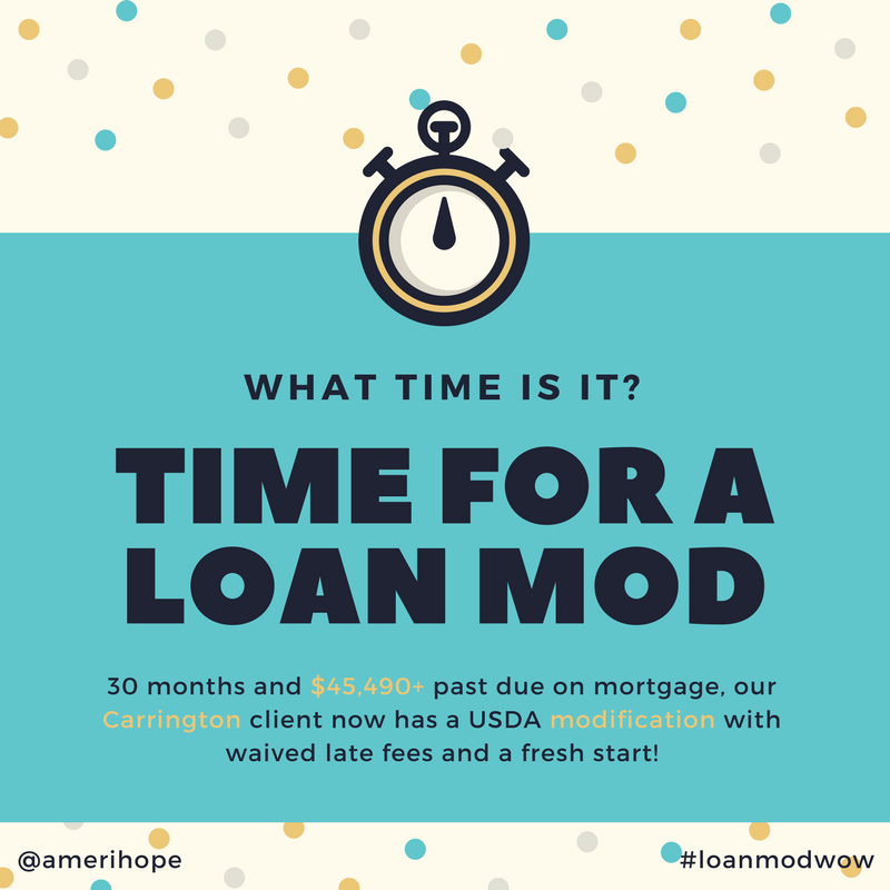 30 months and $45,490+ past due on mortgage, our Carrington client now has a USDA modification with waived late fees and a fresh start!
