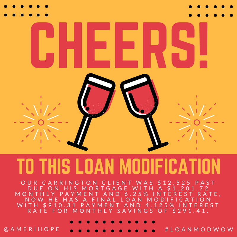 Our Carrington client was $12,525 past due on his mortgage with a $1,201.72 monthly payment and 6.25% interest rate, now he has a final loan modification with $910.31 payment and 4.125% interest rate for monthly savings of $291.41.