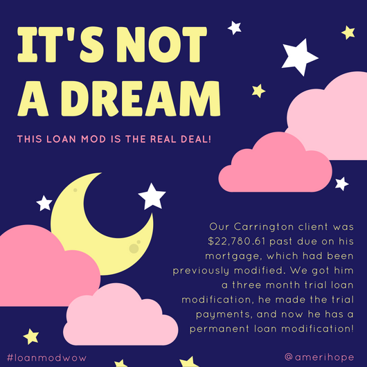 Our Carrington client was $22,780.61 past due on his mortgage, which had been previously modified. We got him a three month trial loan modification, he made the trial payments, and now he has a permanent loan modification!
