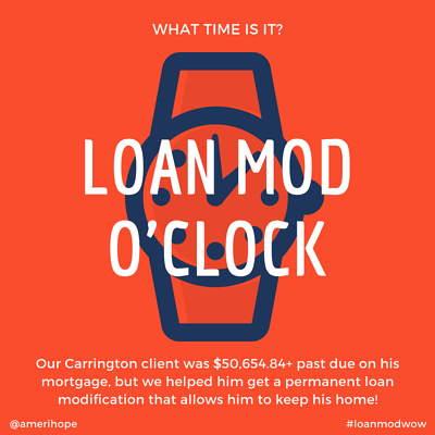 Our Carrington client was $50,654.84+ past due on his mortgage, but we helped him get a permanent loan modification that allows him to keep his home!