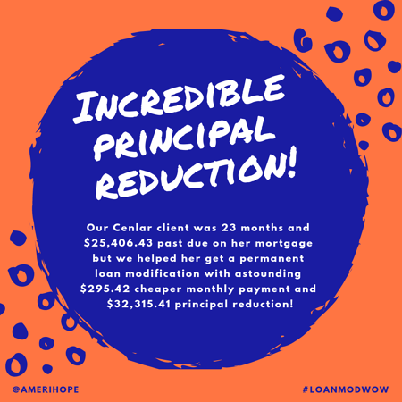 Our Cenlar client was 23 months and $25,406.43 past due on her mortgage but we helped her get a permanent loan modification with astounding $295.42 cheaper monthly payment and $32,315.41 principal reduction!