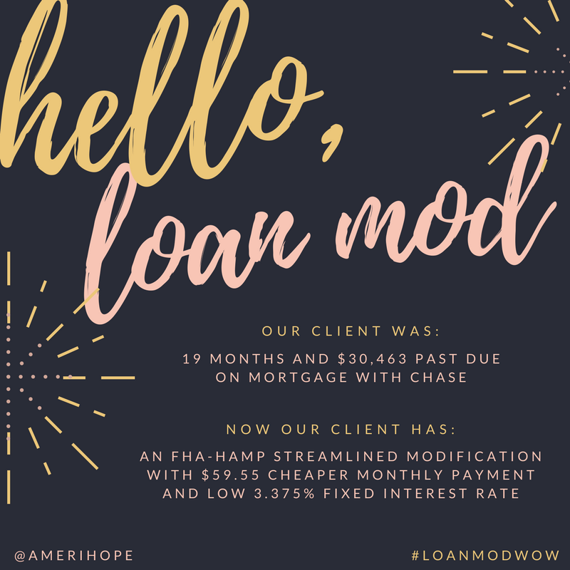 Our Chase client was 19 months and $30,463 past due, but now has a permanent FHA-HAMP loan modification with lower interest rate and $59.55 cheaper payment!
