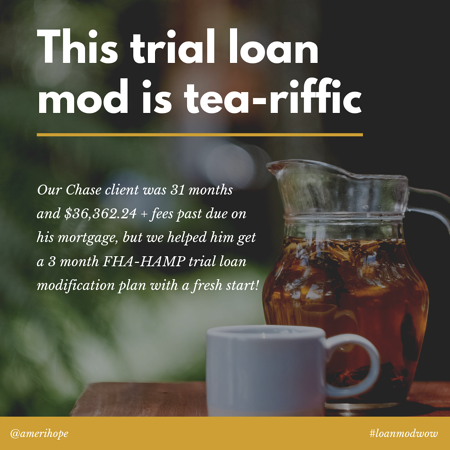 Our Chase client was 31 months and $36,362.24 + fees past due on his mortgage, but we helped him get a 3 month FHA-HAMP trial loan modification plan with a fresh start!