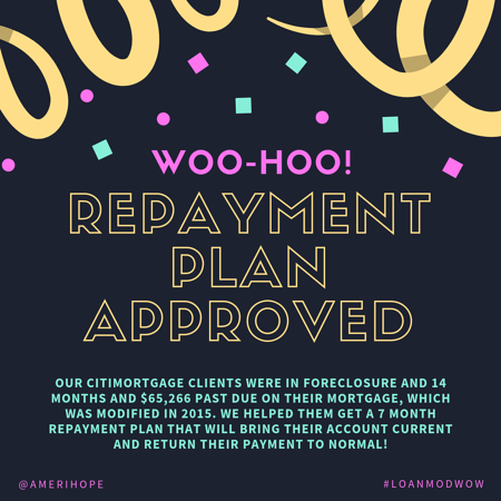 Our CitiMortgage clients were in foreclosure and 14 months and $65,266 past due on their mortgage, which was modified in 2015. We helped them get a 7 month repayment plan that will bring their account current and return their payment to normal!