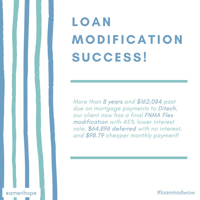 More than 8 years and $162,084 past due on mortgage payments to Ditech, our client now has a final FNMA Flex modification with 45% lower interest rate, $64,896 deferred with no interest, and $98.79 cheaper monthly payment!