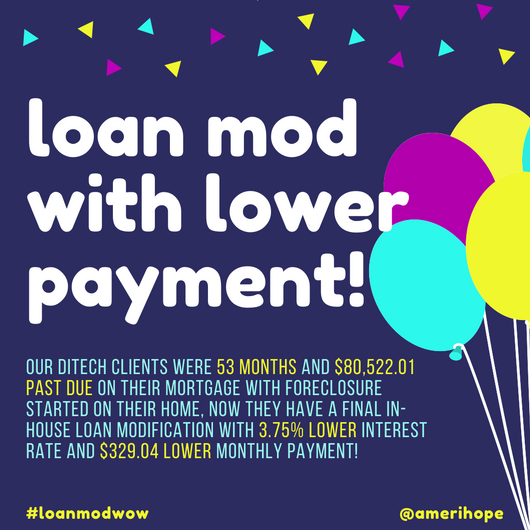 Our Ditech clients were 53 months and $80,522.01 past due on their mortgage with foreclosure started on their home, now they have a final in-house loan modification with 3.75% lower interest rate and $329.04 lower monthly payment!