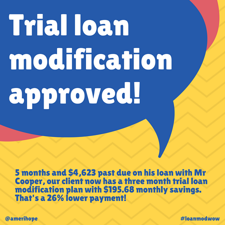 5 months and $4,623 past due on his mortgage payments to Mr Cooper, our client now has a three month trial loan modification plan with $195.68 monthly savings. That's a 26% lower payment!