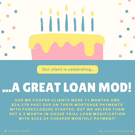 Our Mr Cooper clients were 11 months and $24,270 past due on their mortgage payments with foreclosure started, but we helped them get a 3 month in-house trial loan modification with $222.24 cheaper monthly payment!