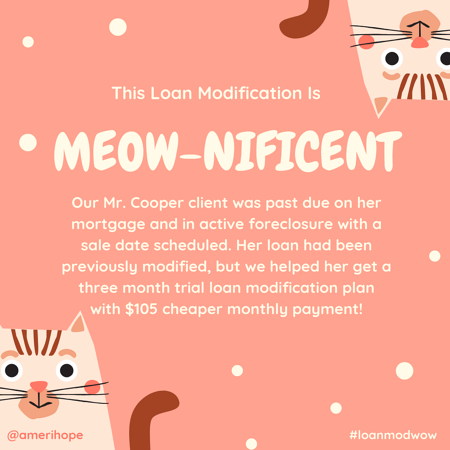 Our Mr. Cooper client was past due on her mortgage and in active foreclosure with a sale date scheduled. Her loan had been previously modified, but we helped her get a three month trial loan modification plan with $105 cheaper monthly payment!
