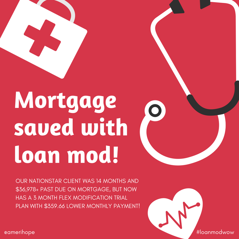 Our Nationstar client was 14 months and $36,978+ past due on mortgage, but now has a 3 month Flex Modification trial plan with $359.66 lower monthly payment!