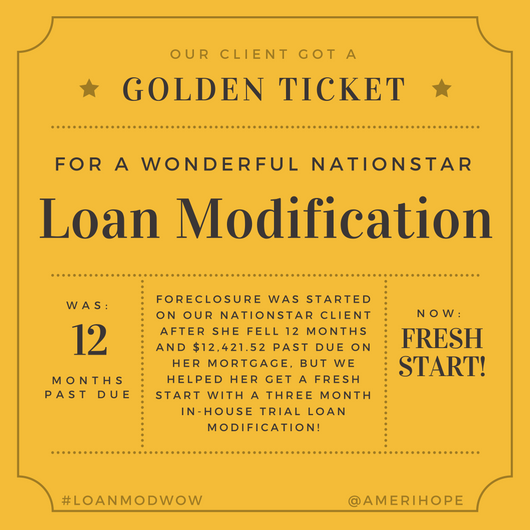 Foreclosure was started on our Nationstar client after she fell 12 months and $12,421.52 past due on her mortgage, but we helped her get a fresh start with a three month in-house trial loan modification!