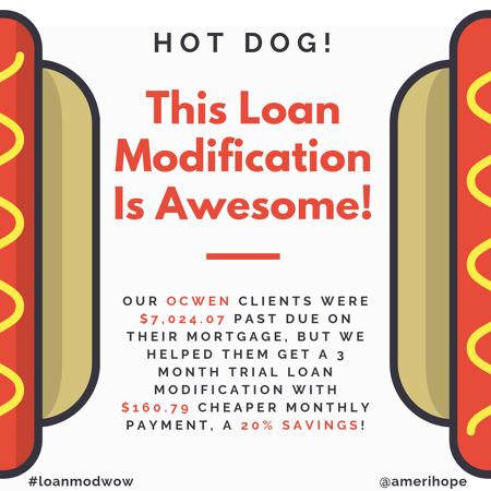 SLM_Ocwen17Our Ocwen clients were $7,024.07 past due on their mortgage, but we helped them get a 3 month trial loan modification with $160.79 cheaper monthly payment, a 20% savings!
