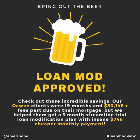 Check out these incredible savings: Our Ocwen clients were 19 months and $50,148 + fees past due on their mortgage, but we helped them get a 3 month streamline trial loan modification plan with insane $746 cheaper monthly payment!