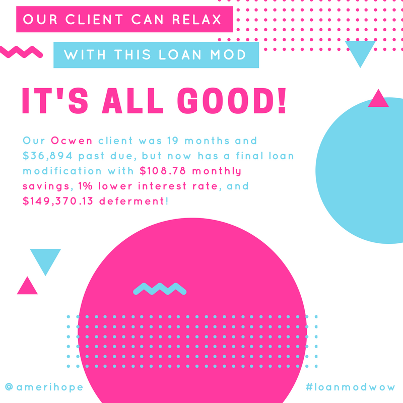 Our Ocwen client was 19 months and $36,894 past due, but now has a final loan modification with $108.78 monthly savings, 1% lower interest rate, and $149,370.13 deferment!