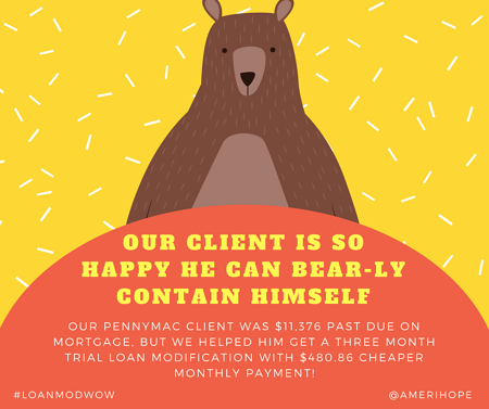Our PennyMac client was $11,376 past due on mortgage, but we helped him get a three month trial loan modification with $480.86 cheaper monthly payment!