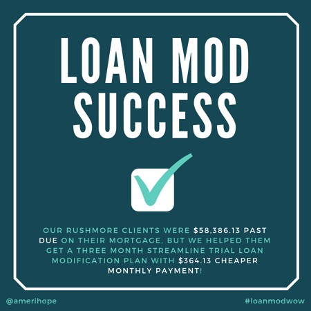 Our Rushmore clients were $58,386.13 past due on their mortgage, but we helped them get a three month streamline trial loan modification plan with $364.13 cheaper monthly payment!