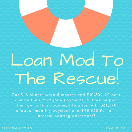 Our SLS clients were 5 months and $10,309.20 past due on their mortgage payments, but we helped them get a final loan modification with $610.70 cheaper monthly payment and $48,838.95 non-interest bearing deferment!