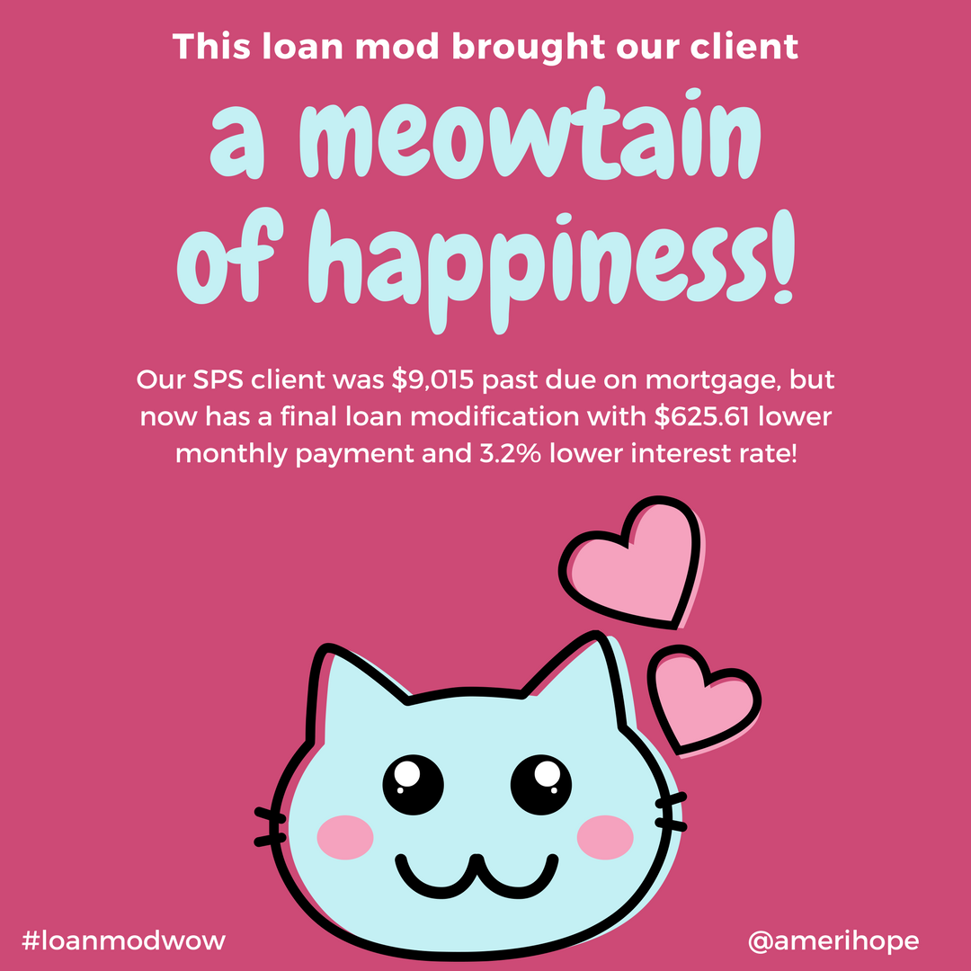 Our SPS client was $9,015 past due on mortgage, but now has a final loan modification with $625.61 lower monthly payment and 3.2% lower interest rate!