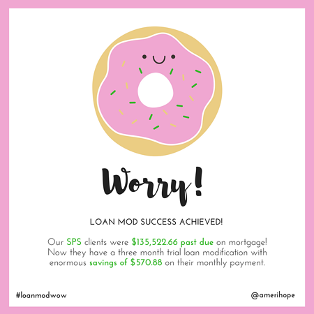Our SPS clients were $135,522.66 past due on mortgage! Now they have a three month trial loan modification with enormous savings of $570.88 on their monthly payment.