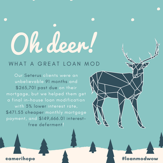 Our Seterus clients were an unbelievable 91 months and $265,701 past due on their mortgage, but we helped them get a final in-house loan modification with 3% lower interest rate, $471.53 cheaper monthly mortgage payment, and $149,666.01 interest-free deferment!