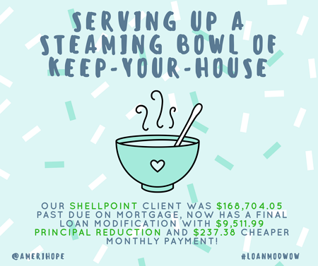 Our Shellpoint client was $168,704.05 past due on mortgage, now has a final loan modification with $9,511.99 principal reduction and $237.38 cheaper monthly payment!