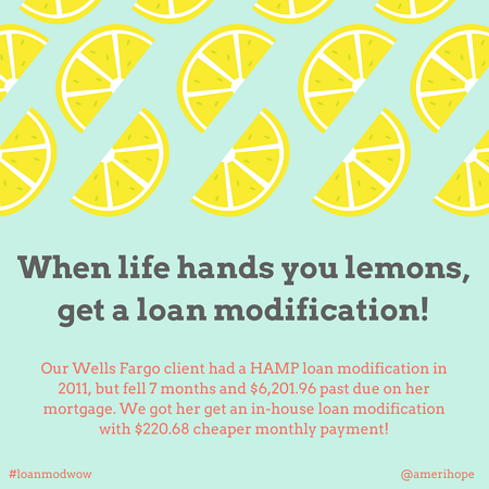 Our Wells Fargo client had a HAMP loan modification in 2011, but fell 7 months and $6,201.96 past due on her mortgage. We got her get an in-house loan modification with $220.68 cheaper monthly payment!