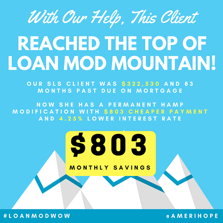Nearly 7 years, and $322,530 past due on mortgage, our SLS client now has a final HAMP loan modification with $803 cheaper payment, $5,000 principal forgiveness, $220,617 deferred, and low 3% fixed interest rate!