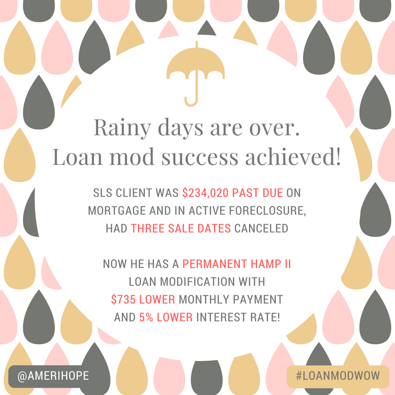 $234,020 past due on mortgage with SLS, our client was in active foreclosure and had three sale dates canceled, now has a permanent HAMP II loan modification with $735 lower monthly payment and 5% lower interest rate!