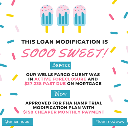 Our Wells Fargo client was $37,238 past due on mortgage following the death of her husband, but we helped her get an FHA HAMP trial loan modification with $158 cheaper payment!
