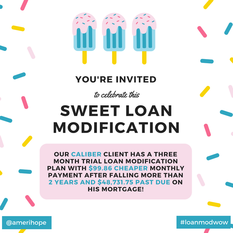 Our Caliber client has a three month trial loan modification plan with $99.86 cheaper monthly payment after falling more than 2 years and $48,731.75 past due on his mortgage!