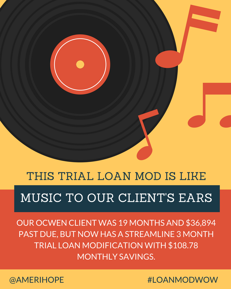 Our Ocwen client was 19 months and $36,894 past due, but now has a streamline 3 month trial loan modification with $108.78 monthly savings.