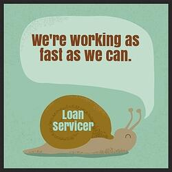 Working with your mortgage loan servicer for a loan modification can be difficult. It often feels like they are moving as slow as a snail.