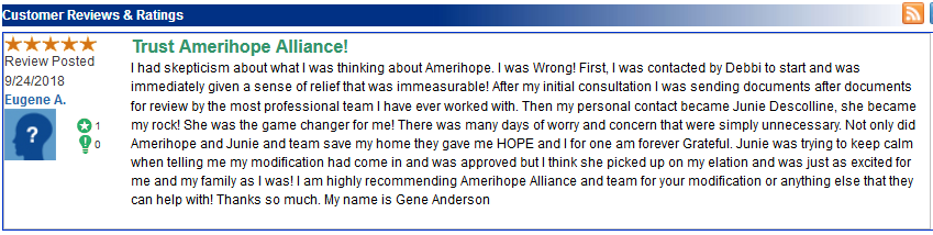 Amerihope Alliance Legal Services has helped more than 7,000 homeowners get a loan modification in the 10 years we've been in business. Many of our satisfied clients have left us reviews online. In September 2018, we received a large number of reviews (all five stars) on a site called TrustLink.