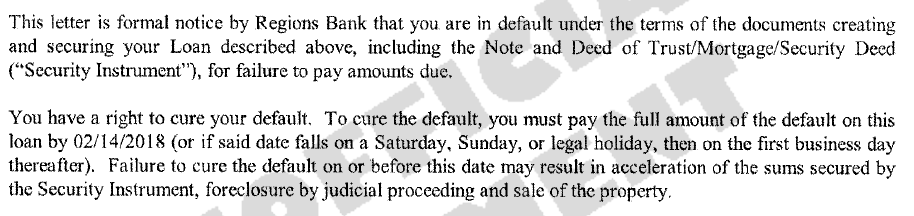 "A notice of default is a letter sent to a homeowner telling them that they have not made their mortgage payments and that they need to pay for the missed payments, plus fees, in order to avoid foreclosure. The letter will call making up for the missed payments ""curing the default""."
