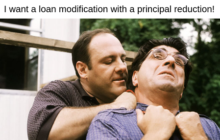 Tony Soprano is not exactly someone you'd want to model your life after, unless you like constantly trying to avoid being murdered or going to prison, but there are some positive things you can learn from this fictional mob boss that could help you get a loan modification and avoid foreclosure. Tony Soprano strangling Fabian Petrulio..